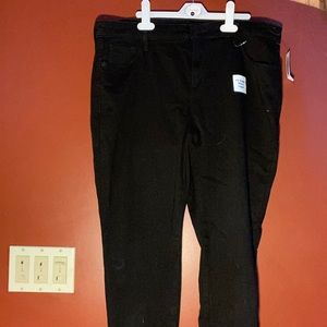 Black Fleeced Lined Skinny Jeans